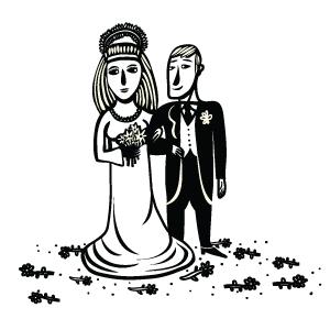 disrgno di una coppia che durante le nozze